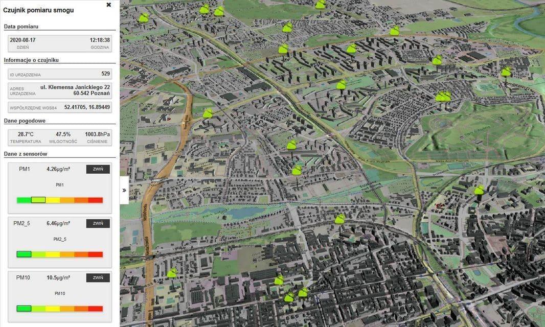 smart3Dcity z prezentacją danych czujników IoT